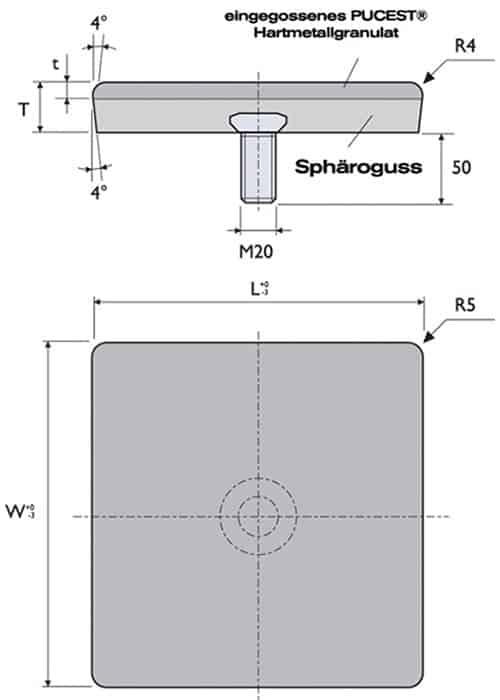 Die PUCEST HM-Verbundplatte mit 1 Bolzen