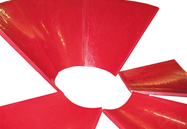 Trichterauskleidung aus vorgewalzten PUCEST Platten